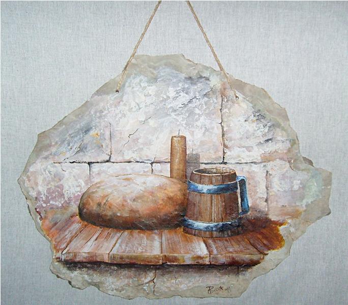 Hleb,kamen i so,secco tehnika