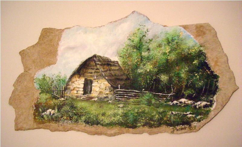 Koliba,ulje na kamenu,22x33 cm