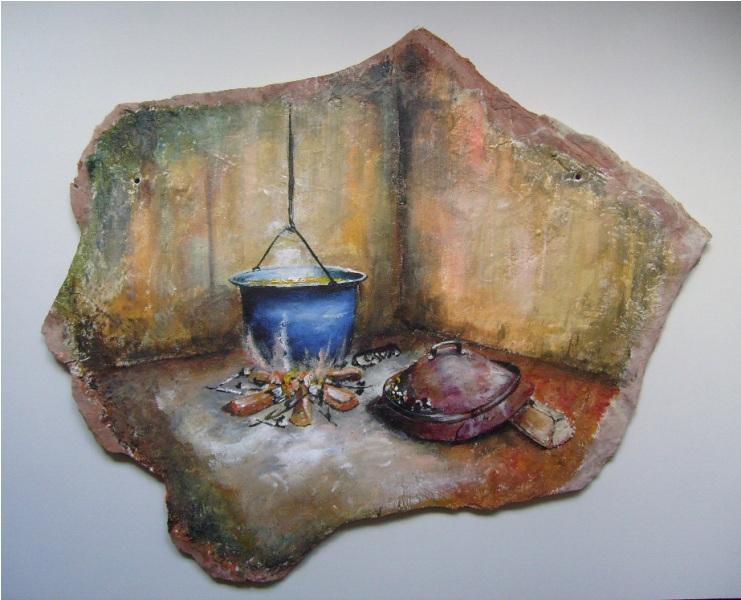 Ognište,ulje na kamenoj ploči 53x 60 cm