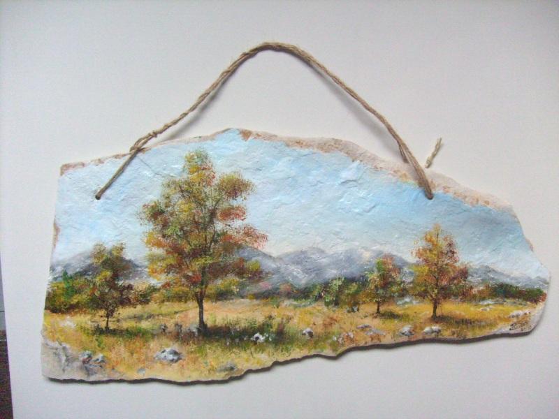 Planinski motiv,ulje na kamenoj ploči