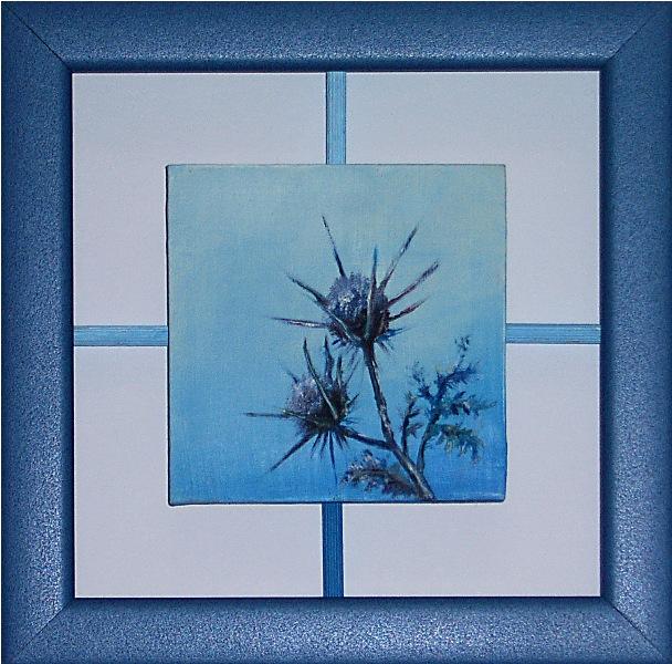 Rapsodija u plavom, 10x10 cm, ulje na medijapanu