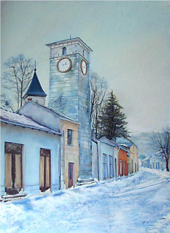 Snjegovi,pastel papir,70 x 50 cm