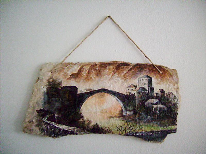 Stari most-secco tehnika,28 x 52 cm