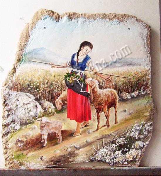 Pastirica Andjelija, 43x41 cm,  secco tehnika, 400 €